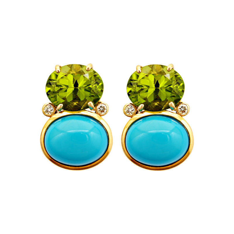 Earrings -Peridot, Turquoise and Diamond