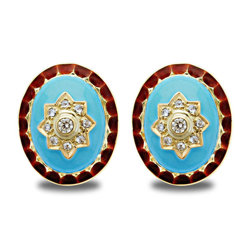 Earrings -Diamond (Enamel)