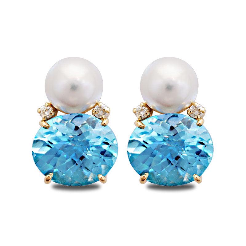 Earrings-South Sea Pearl, Blue Topaz and Diamond