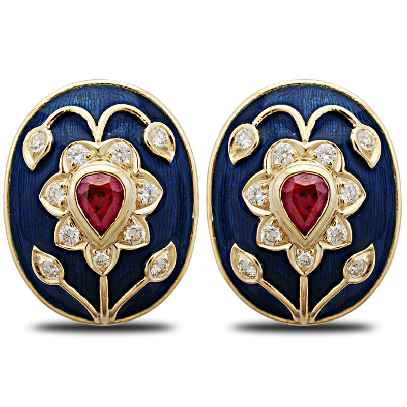 Earrings-Ruby and Diamond (Enamel)
