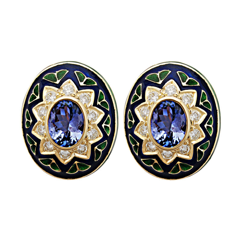 Earrings-Tanzanite and Diamond (Enamel)