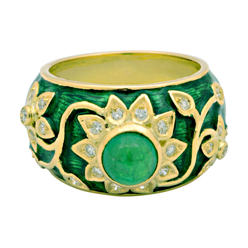 Ring-Emerald and Diamond (Enamel)