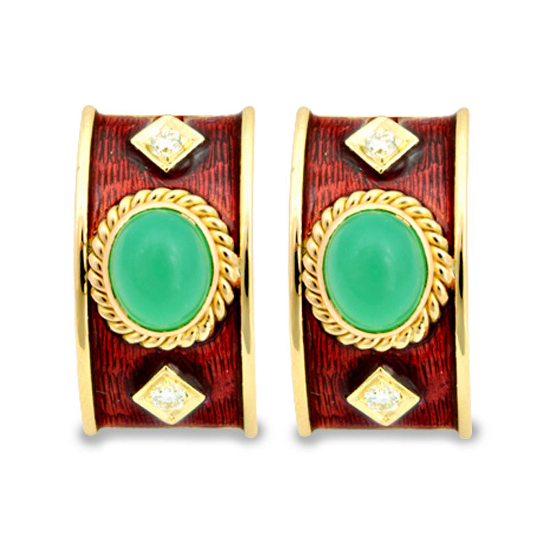 Earrings-Chrysoprase and Diamond (Enamel)