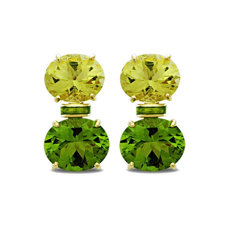 Earrings-Lemon Quartz and Peridot (Enamel)