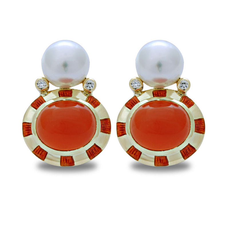 Earrings-Cornelian, South Sea Pearl and Diamond (Enamel)