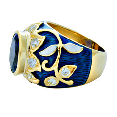 Ring-Tanzanite and Diamond (Enamel)