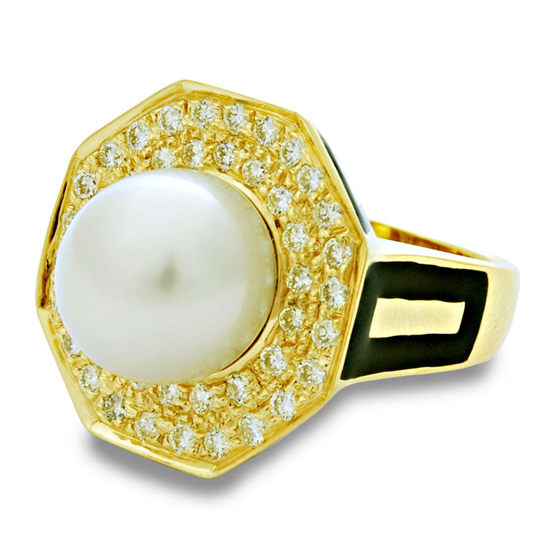 Ring-South Sea Pearl and Diamond (Enamel)