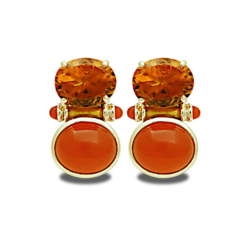 Earrings-Citrine and Cornelian (Enamel)