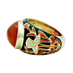 Ring -Cornelian and Diamond (Enamel)