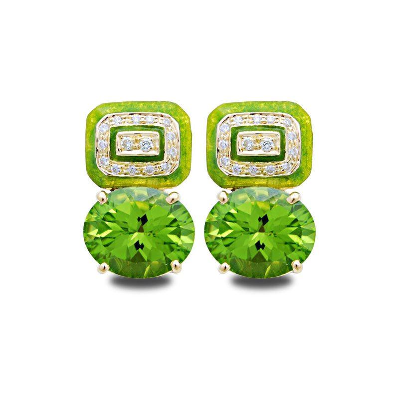 Earrings-Peridot and Diamond (Enamel)