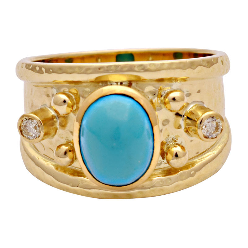 Ring-Synthetic Turquoise and Diamond