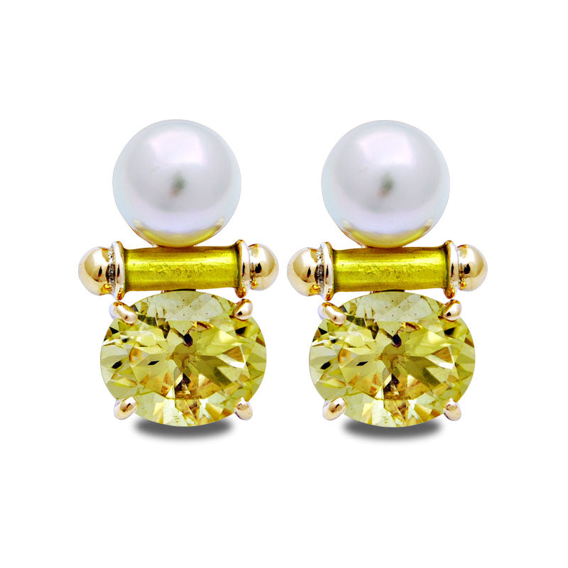 Earrings-Lemon Quartz and South Sea Pearl (Enamel)