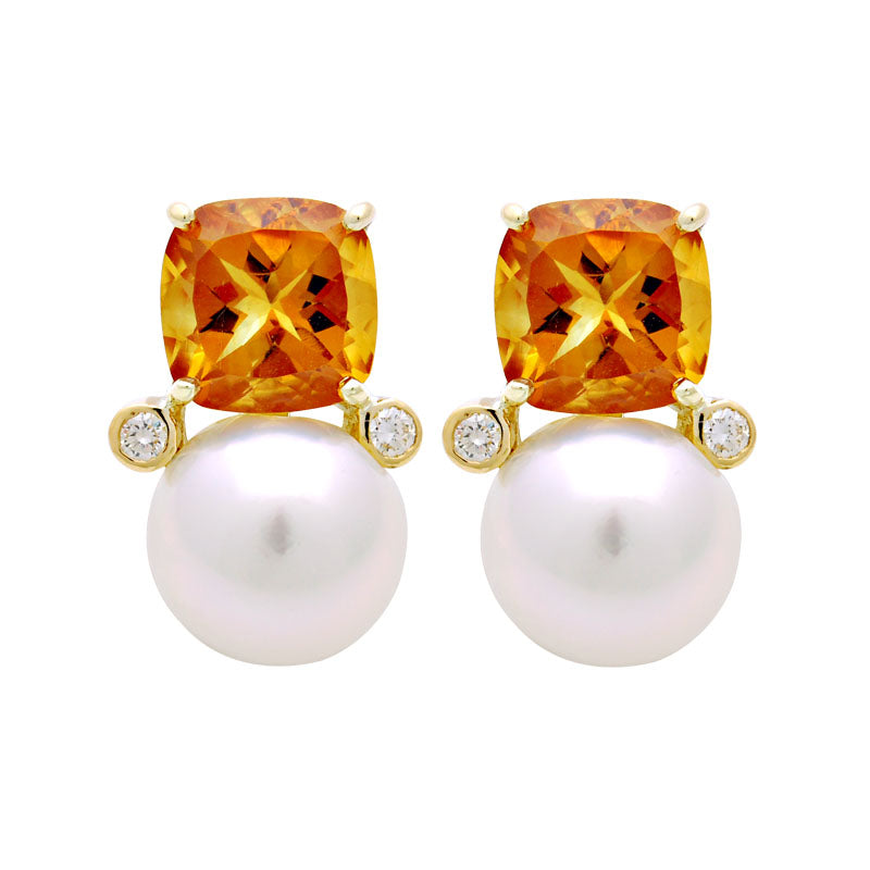 Earrings-South Sea Pearl, Citrine and Diamond