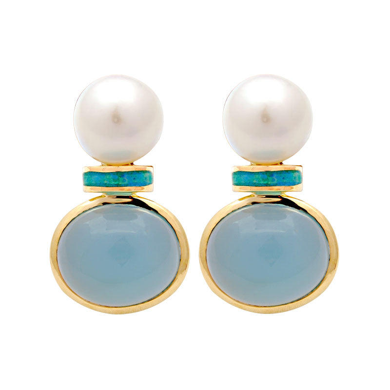Earrings-Chalcedony and South Sea Pearl (Enamel)