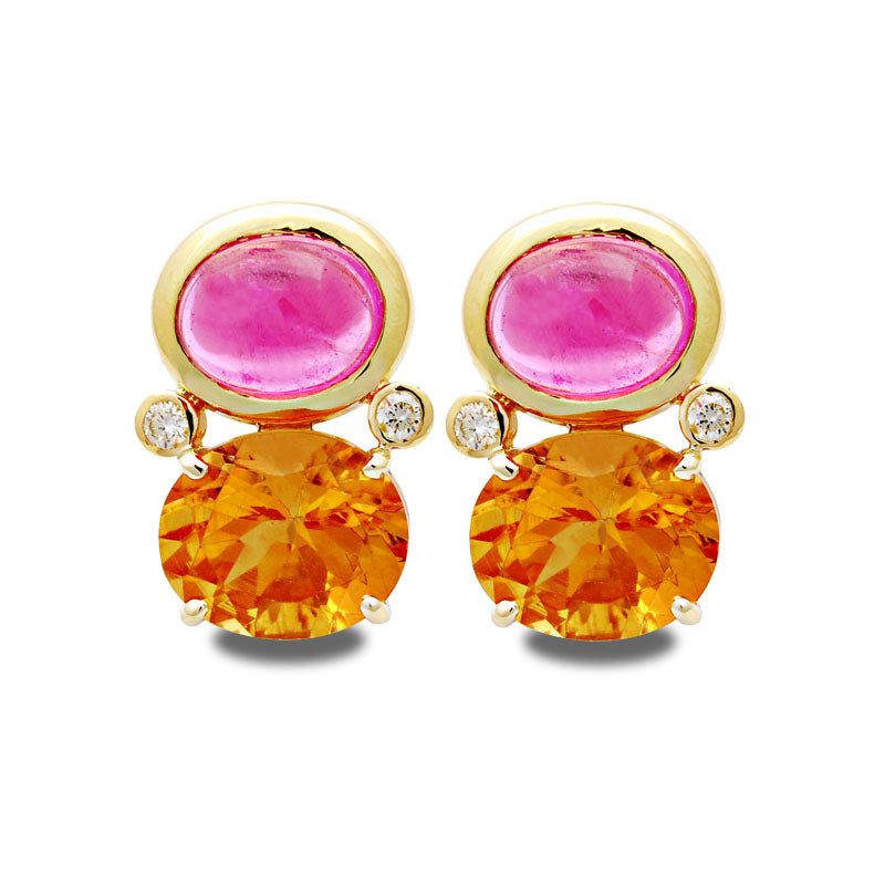 Earrings-Rubellite, Citrine and Diamond
