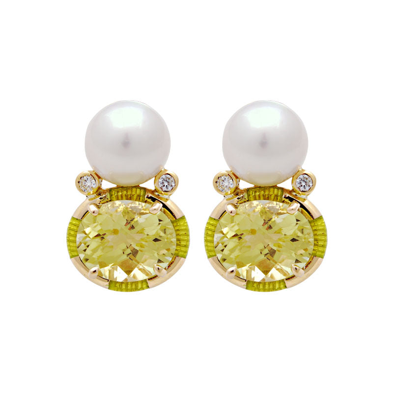 Earrings-Lemon Quartz, South Sea Pearl and Diamond (Enamel)