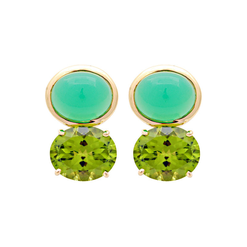 Earrings-Chrysoprase and Peridot