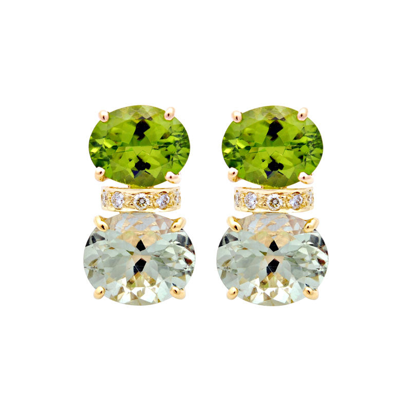 Earrings-Peridot, Green Quartz and Diamond