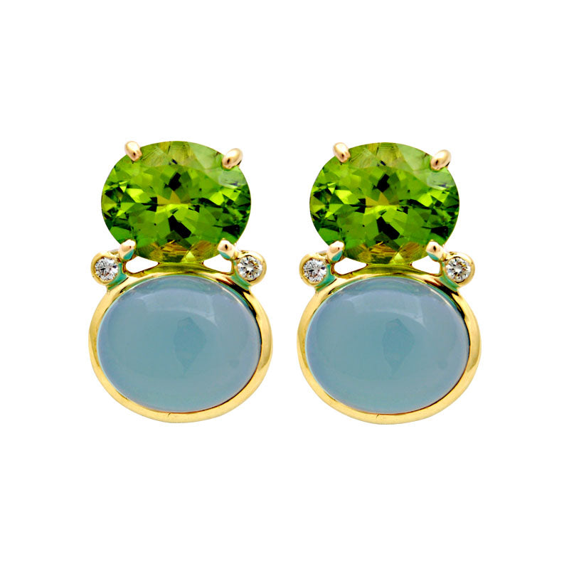 Earrings-Peridot, Chalcedony and Diamond