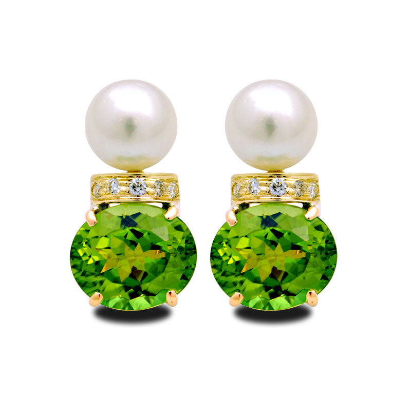 Earrings-Peridot, South Sea Pearl and Diamond