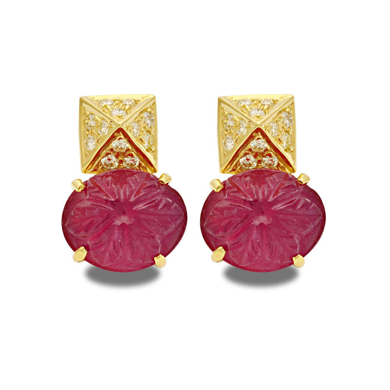Earrings-Glass Filled Ruby and Diamond