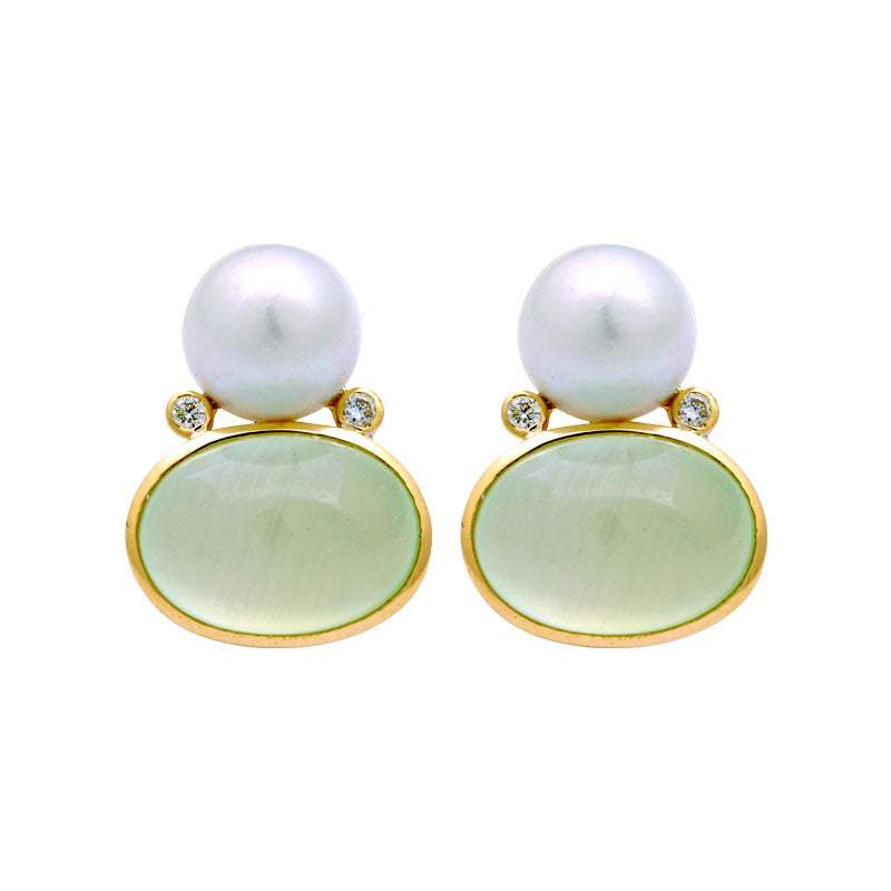 Earrings-Prehnite, South Sea Pearl and Diamond