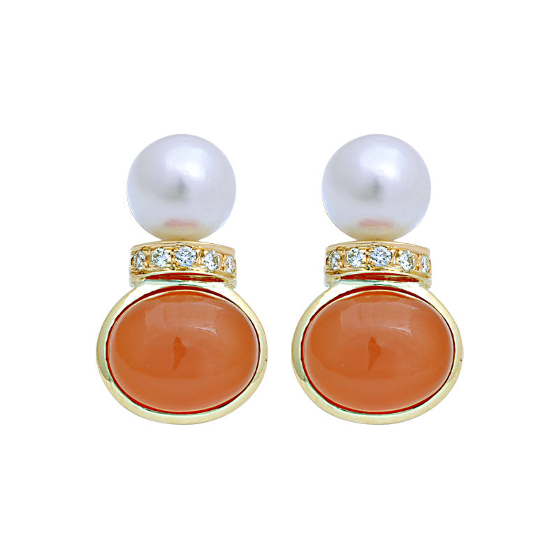 Earrings-Cornelian, South Sea Pearl and Diamond