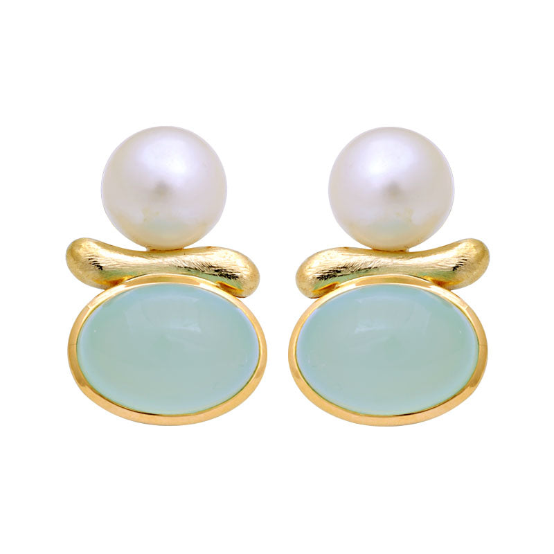 Earrings-Chalcedony and South Sea Pearl