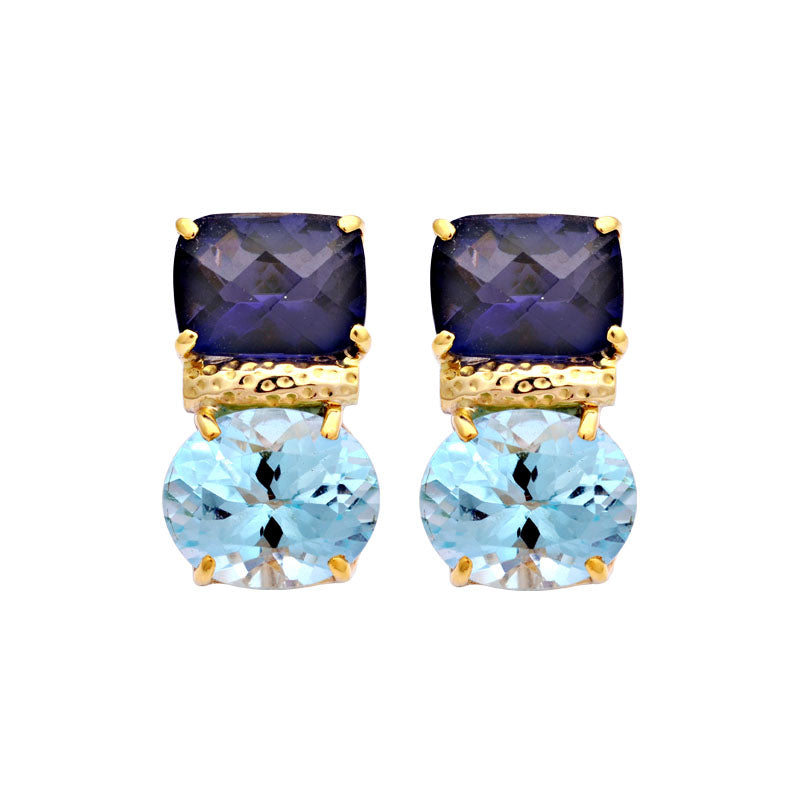 Earrings-Iolite and Blue Topaz