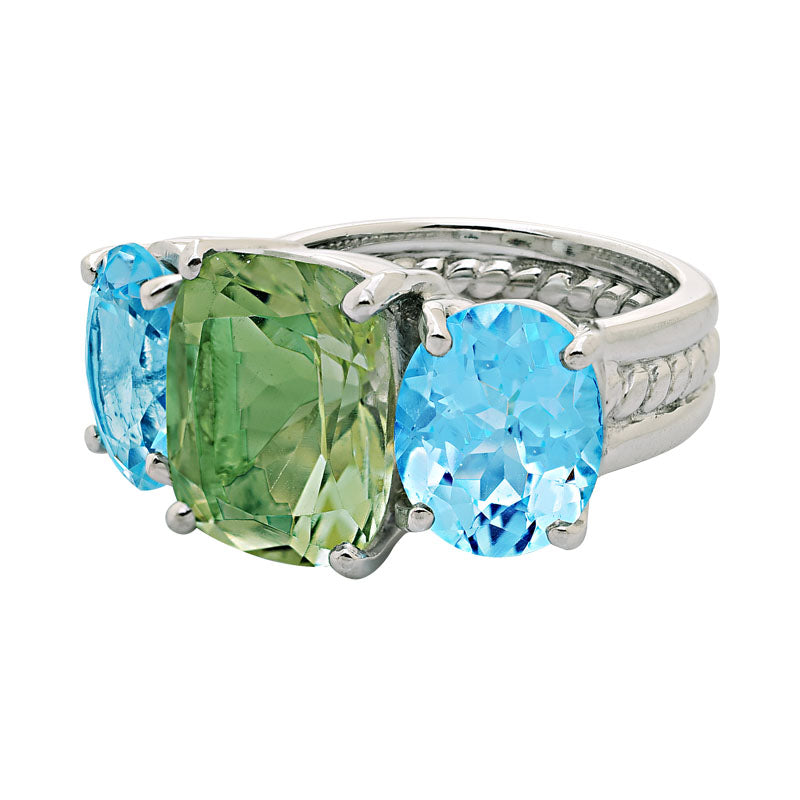 Ring-Green Quartz and Blue Topaz
