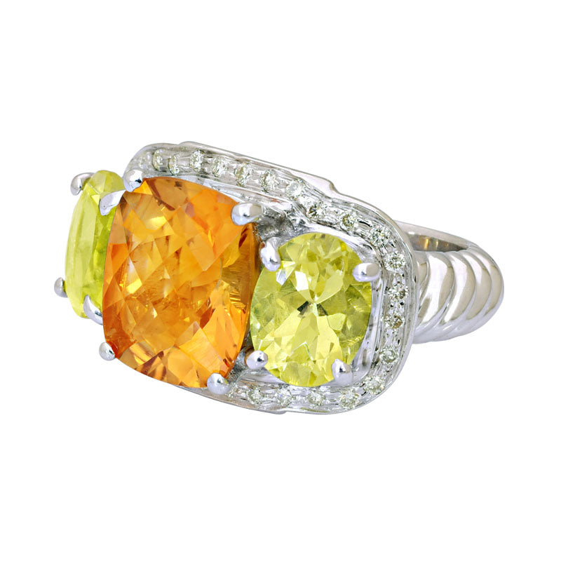 Ring-Citrine, Lemon Quartz and Diamond