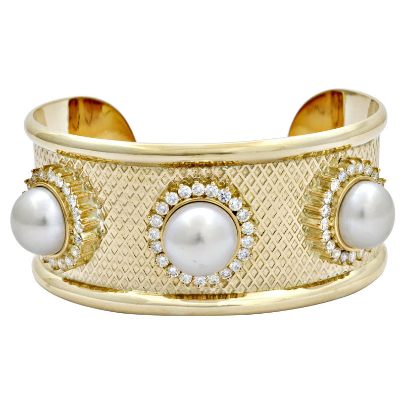 Cuff Bangle-South Sea Pearl and Diamond