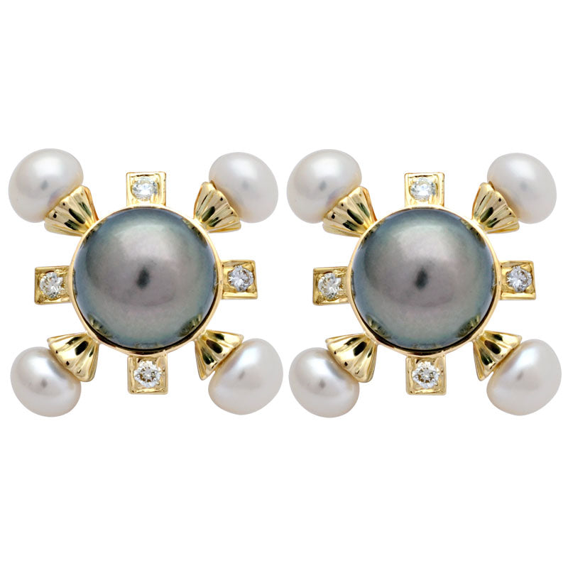 Earrings-Fresh Water Pearl, South Sea Pearl and Diamond