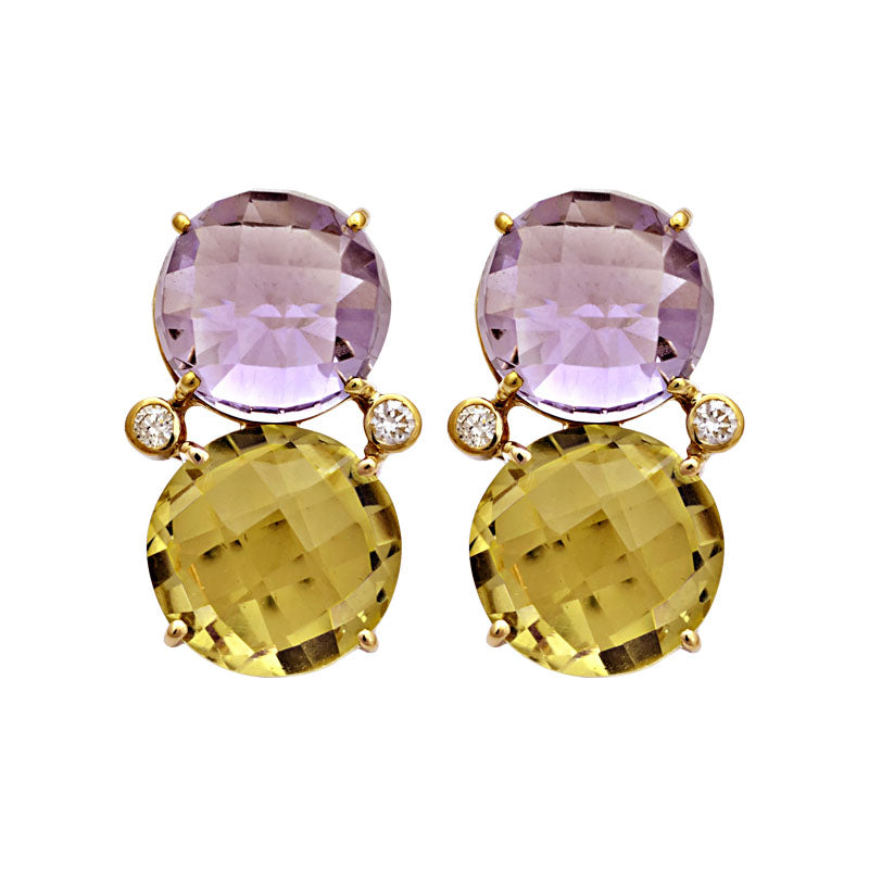 Earrings-Amethyst, Lemon Quartz and Diamond