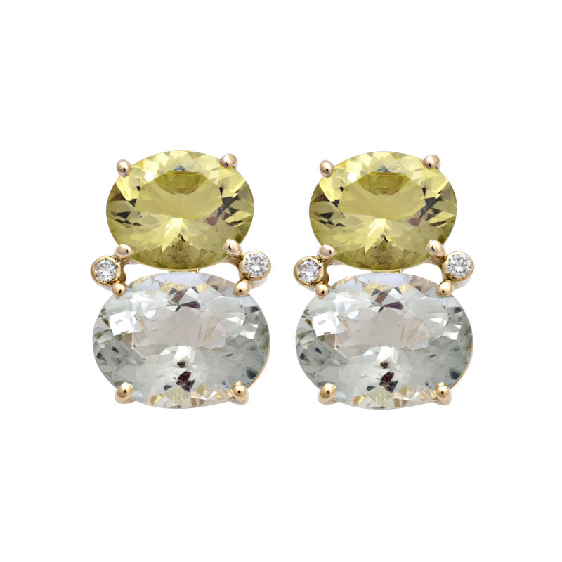 Earrings-Lemon Quartz, Green Quartz and Diamond