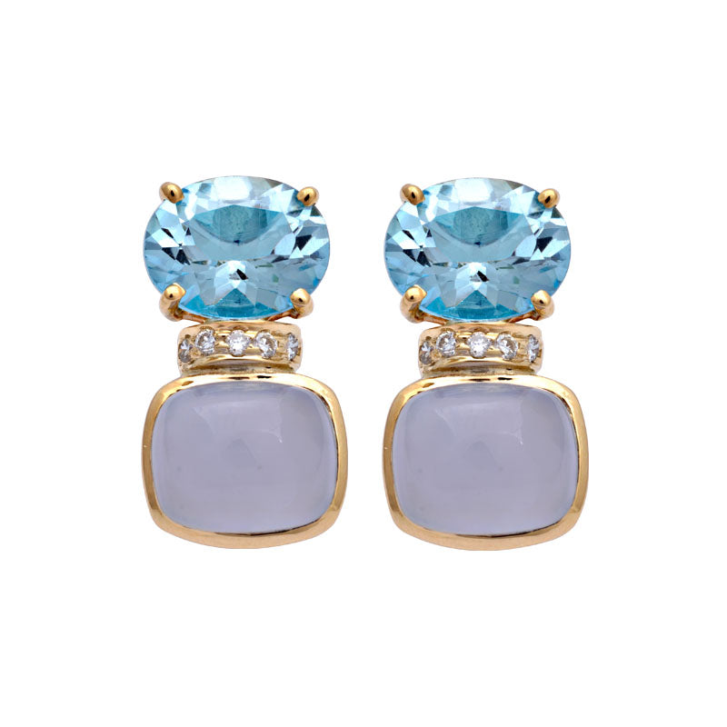 Earrings-Blue Topaz, Chalcedony and Diamond