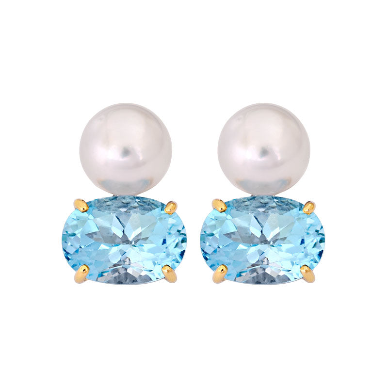 Earrings- Blue Topaz and South Sea Pearl