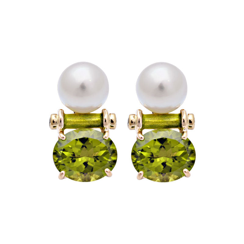 Earrings-Peridot, South Sea Pearl and Diamond (Enamel)