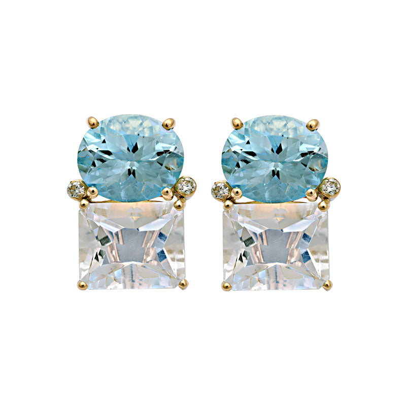 Earrings-Blue Topaz, Crystal and Diamond