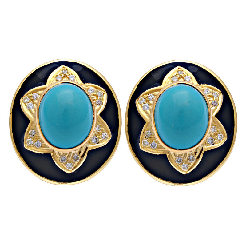 Earrings-Synthetic Turquoise and Diamond (Enamel)