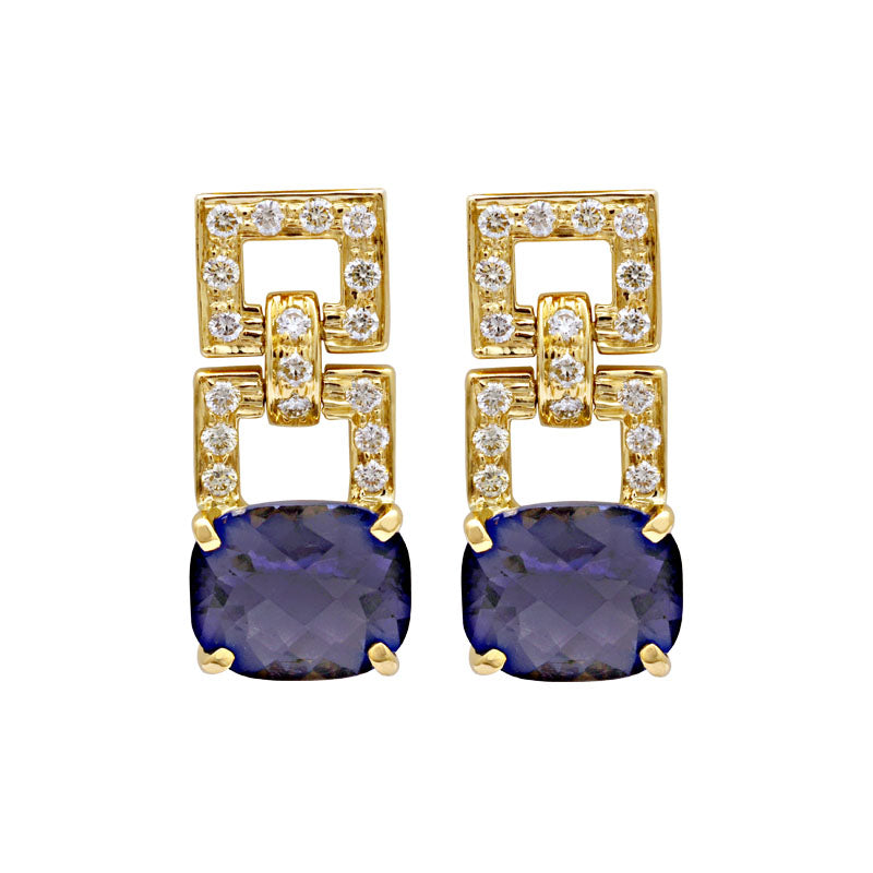 Earrings-Iolite and Diamond