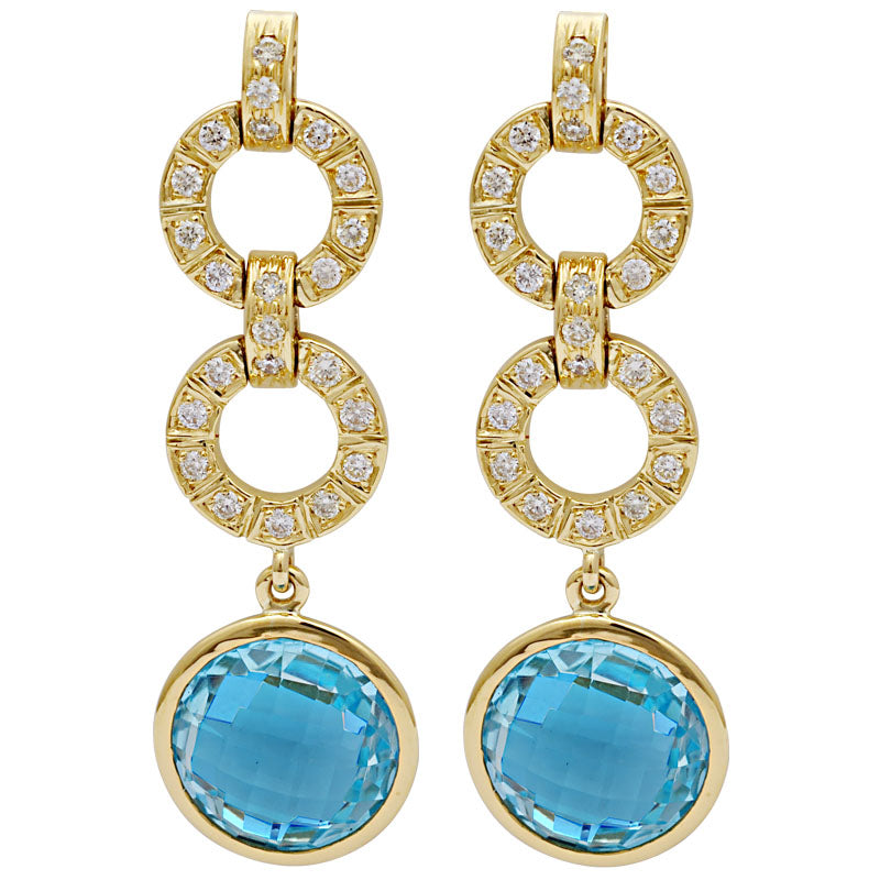 Earrings-Blue Topaz and Diamond