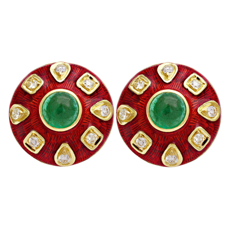 Earrings-Emerald and Diamond (Enamel)