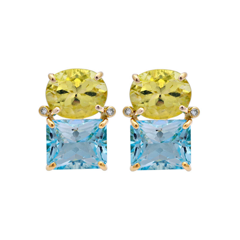 Earrings-Lemon Quartz, Blue Topaz and Diamond