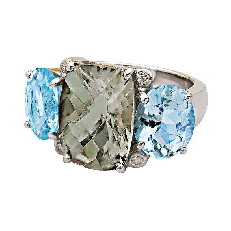 Ring-Green Quartz, Blue Topaz and Diamond