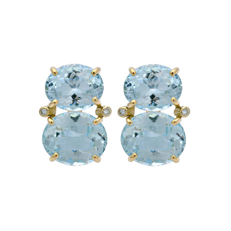 Earrings-Aquamarine and Diamond
