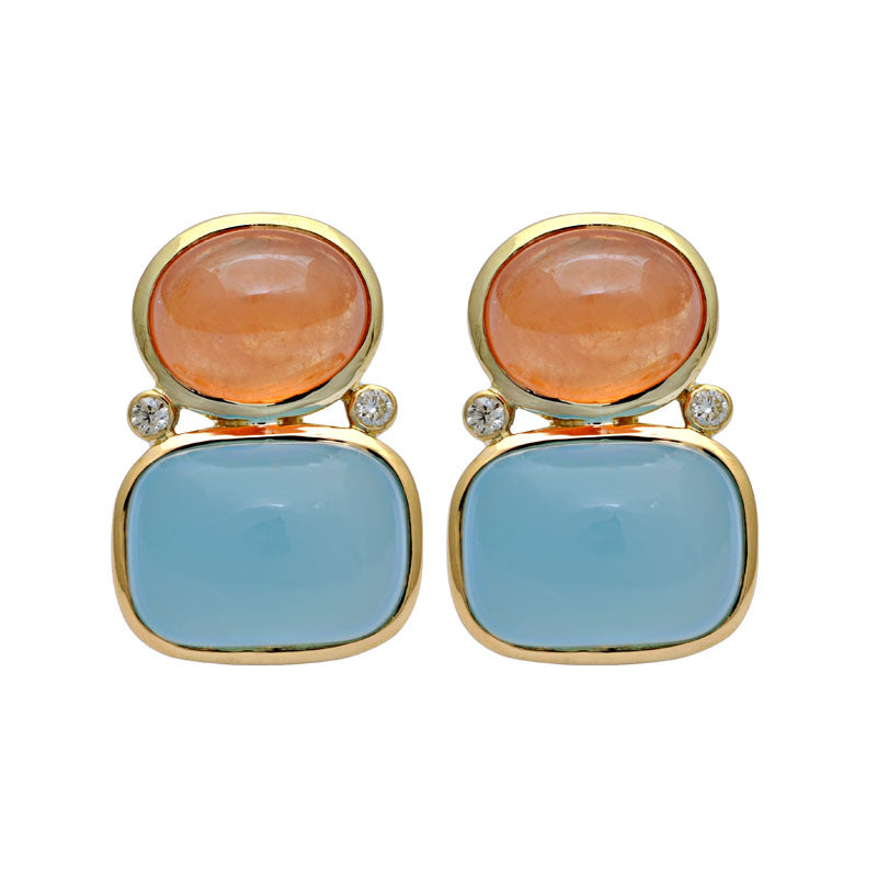Earrings-Orange Garnet, Chalcedony and Diamond