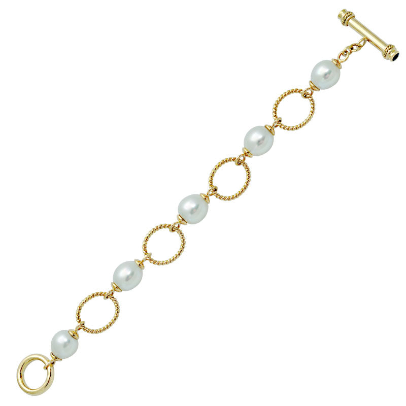 Toggle Bracelet-Blue Sapphire and South Sea Pearl