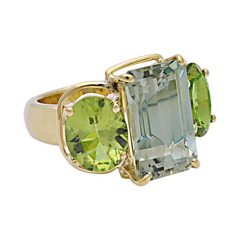 Ring-Green Quartz and Peridot