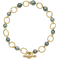 Toggle Necklace-Blue Sapphire and South Sea Pearl